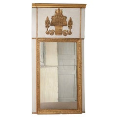 Empire Trumeau Gilded Gold Mirror with a Basket Wheat Decoration
