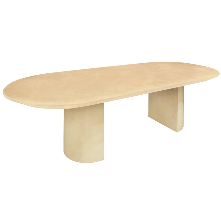 Knife Edge Dining Table In Lacquered Goatskin By Karl Springer For