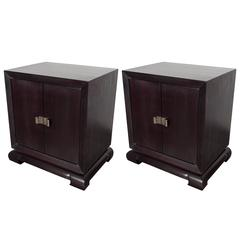 Pair of Mid-Century Modernist Nightstands in the Manner of James Mont