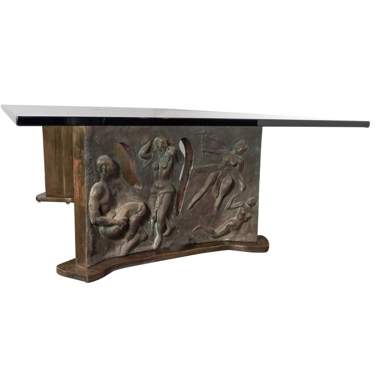 Sculptural Figurative Bronze Cocktail Table, Signed Philip and Kelvin LaVerne