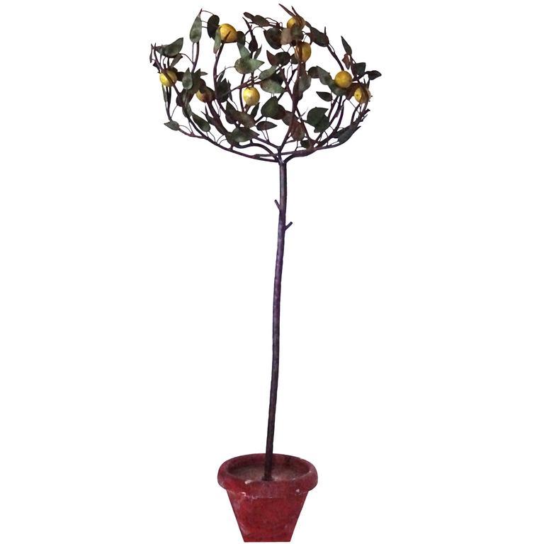 1940s Italian Tole Lemon Tree For Sale