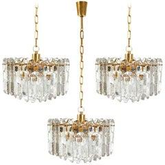 Three Kalmar Chandeliers Pendant Lights 'Palazzo', Gilt Brass Glass, 1970