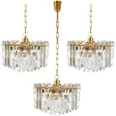 Three Kalmar Chandeliers Pendant Lights 'Palazzo', Gilt Brass Glass, 1970