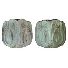 Boldly-Scaled Pair of American Classical Revival Verdigris Copper Brackets