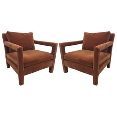 Pair of Milo Baughman Lounge Chairs in Mohair