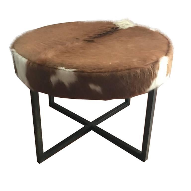 Circular Upholstered Cowhide Bench At 1stdibs
