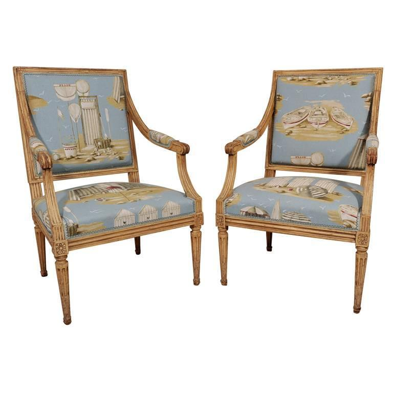 Pair of Louis XVI Style Fauteuils 1