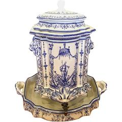 18th Century French Faience Lavabo, Signed Moustiers