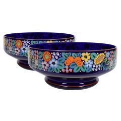 Pair of Bohemian Enamel Painted Cobalt Glass Bowls, 1918-1938