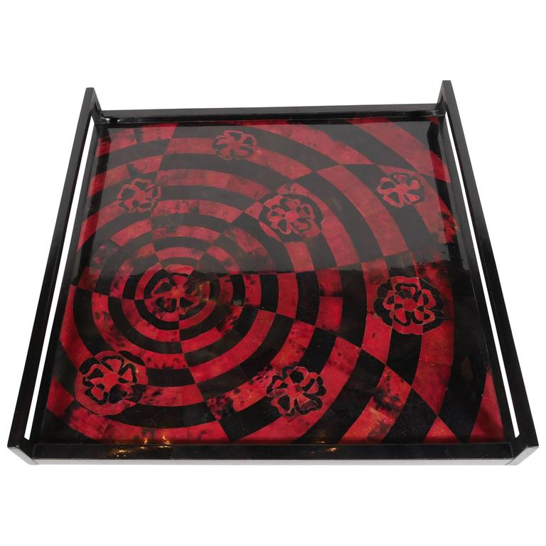 Handcrafted Mosaic Serving Tray in Lacquered Pen Shell