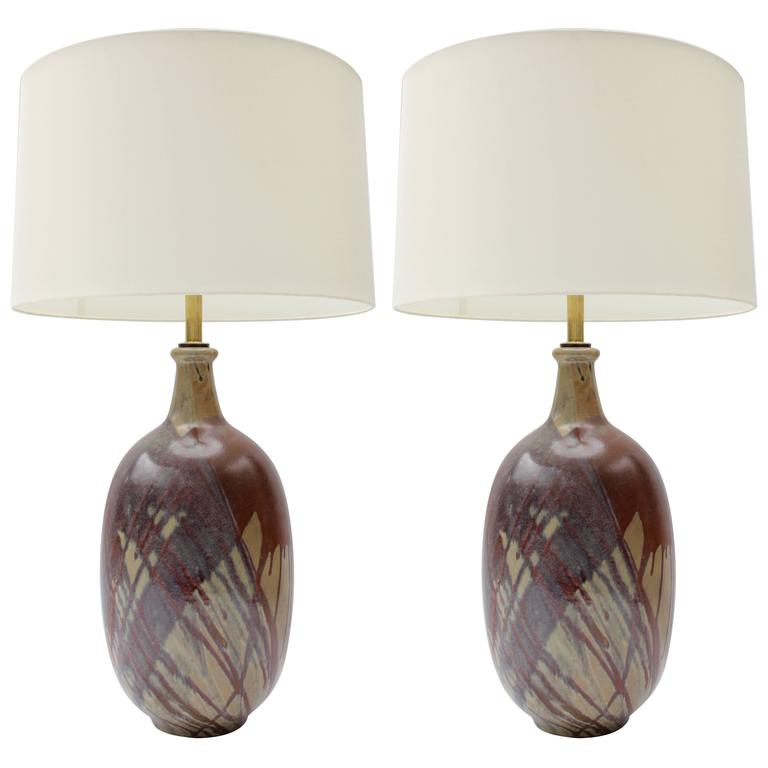 Pair of California Terra Cotta Drip Glaze Lamps For Sale