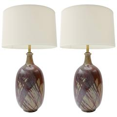 Pair of California Terra Cotta Drip Glaze Lamps