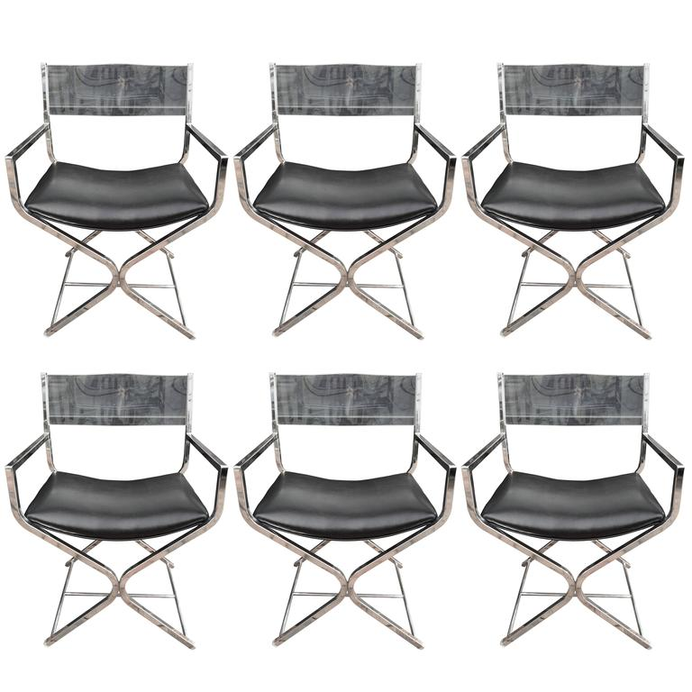 Six Lucite And Chrome Director S Chairs At 1stdibs