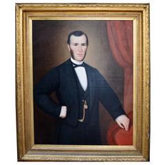 Large 19th Century Belgian Portrait Of A Gentleman