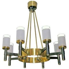 Cannon and Gilt Bronze Ceiling Light by Raymond Subes