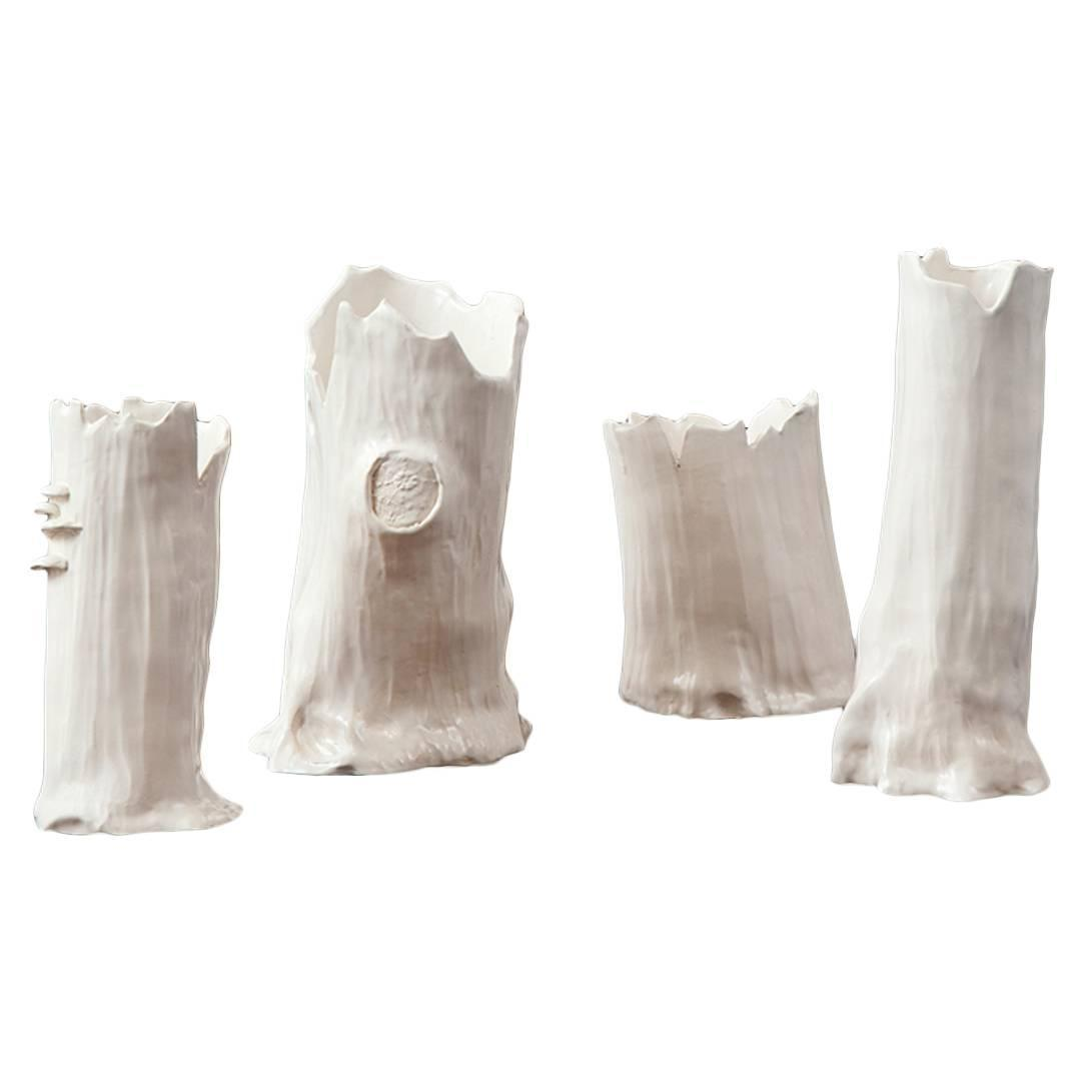 loie acevedo faux bois ceramic vases in white at 1stdibs. Black Bedroom Furniture Sets. Home Design Ideas