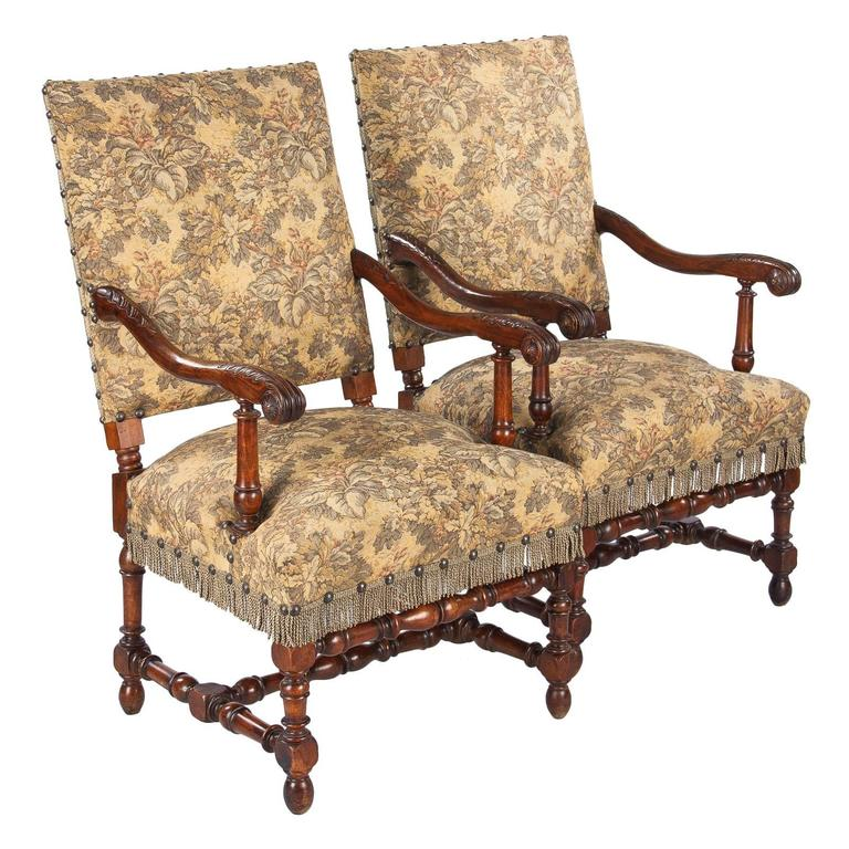 Pair Of French Louis Xiii Style Armchairs 19th Century At