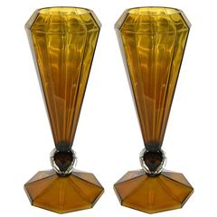 Alberto Dona' Italian Pair of Amber Murano Glass Vases with Faceted Spheres