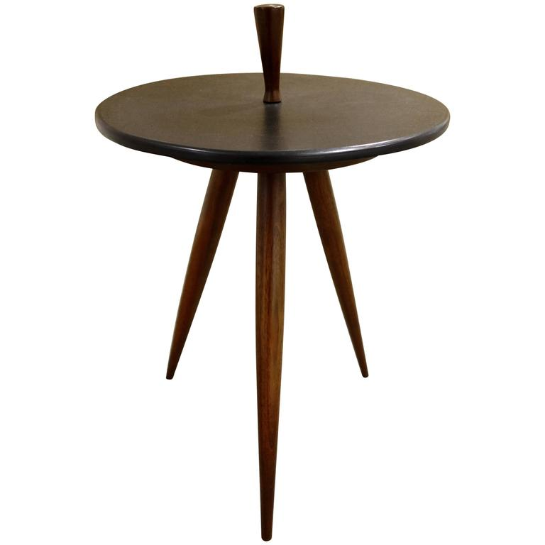 Phillip Lloyd Powell Tripod Walnut And Slate Side Or End Table For Sale