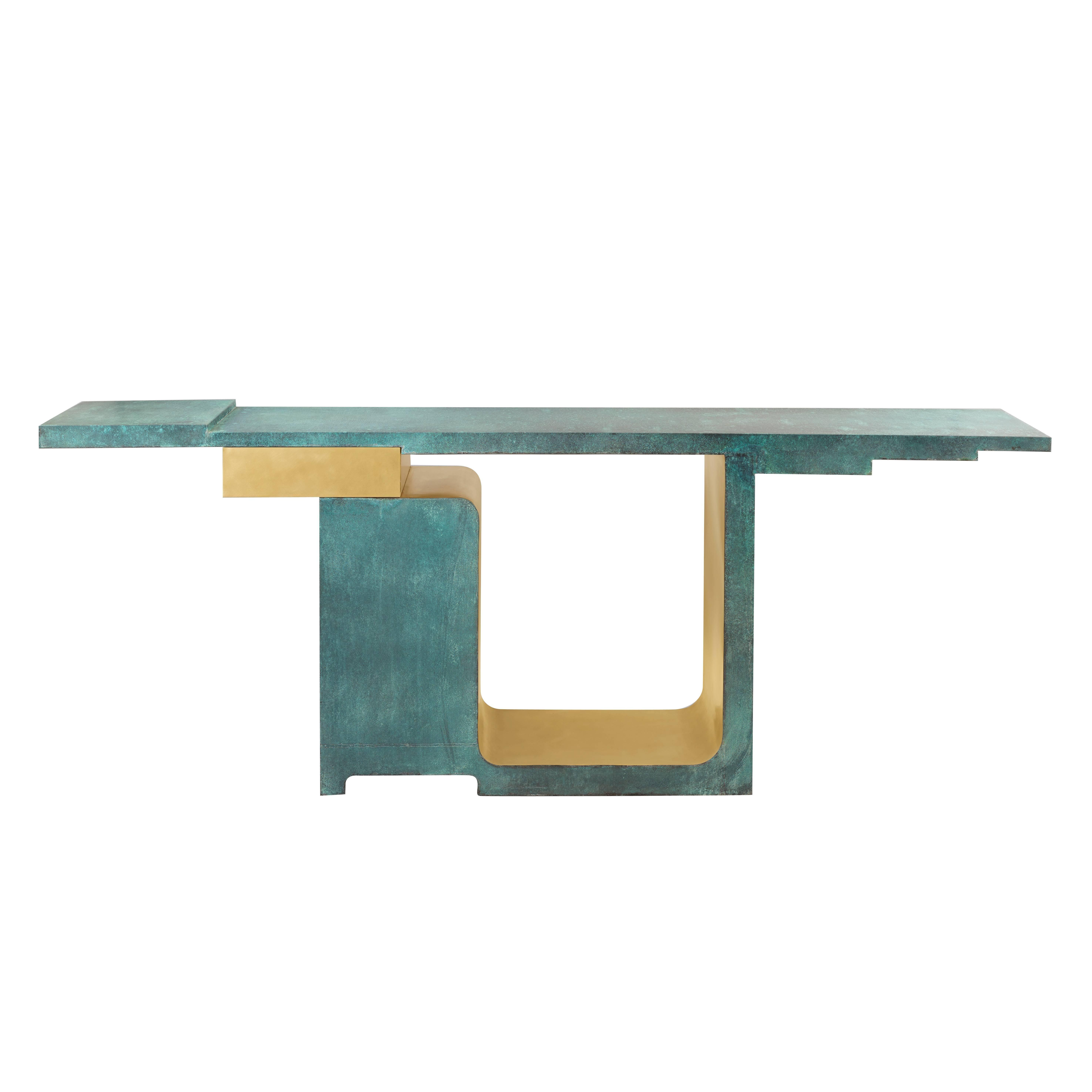 'XiangSheng I' Console, Brushed Bronze and Etruscan Green Patina - by Studio MVW