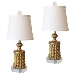 Pair of 19th Century Giltwood Tassel Lamps