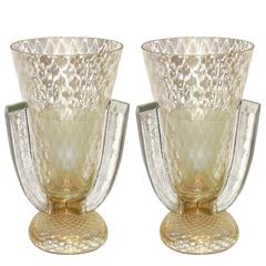 Pair of Large Size Gold Murano Glass Lamps Attributed to Barovier e Toso