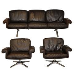 Vintage De Sede DS 31 Sofa and Swivel Lounge Armchairs, 1970s