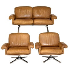 Vintage De Sede DS 31 Two-Seat Sofa and Swivel Lounge Armchairs 1970`s