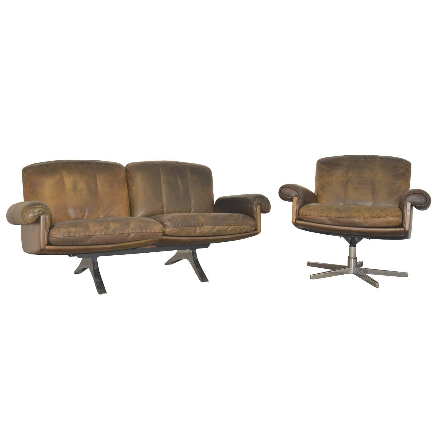 Vintage De Sede Ds 31 Two Seat Sofa And Swivel Club Armchair 1970s For Sale At 1stdibs