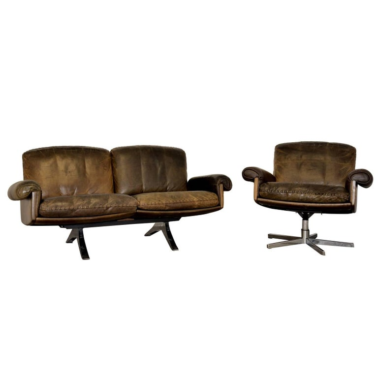 Vintage De Sede DS 31 Two-Seat Sofa and Swivel Armchair, 1970s