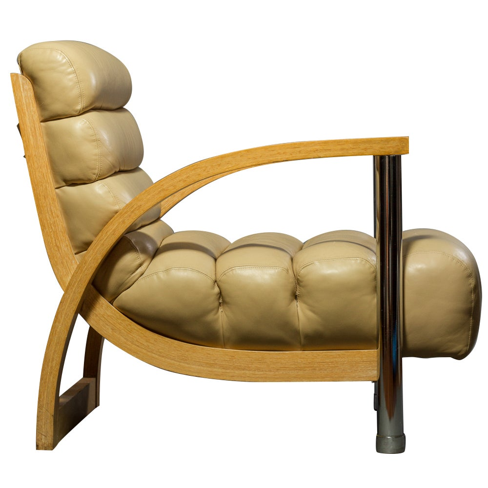 """Jay Spectre """"Eclipse"""" Leather Club Chair"""