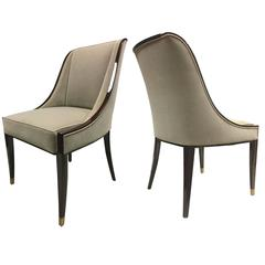 E.J. Ruhlmann Stamped Pair of Solid Macassar Chairs with Refined Details