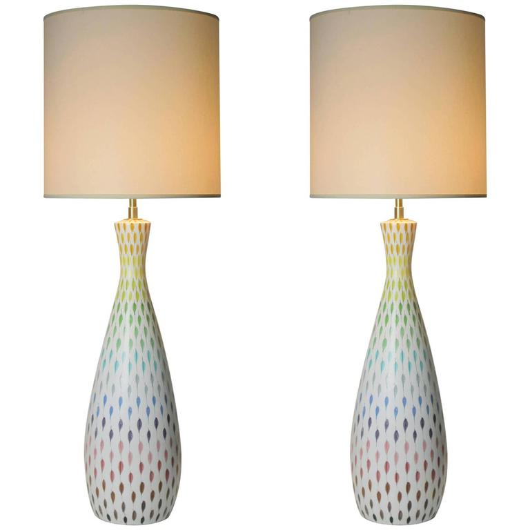 Pair of Large Multi-Colored Italian Ceramic Table Lamps by Bitossi 1