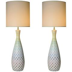 Pair of Large Multi-Colored Italian Ceramic Table Lamps by Bitossi