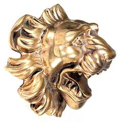 Early 20th Century Solid Brass Lion