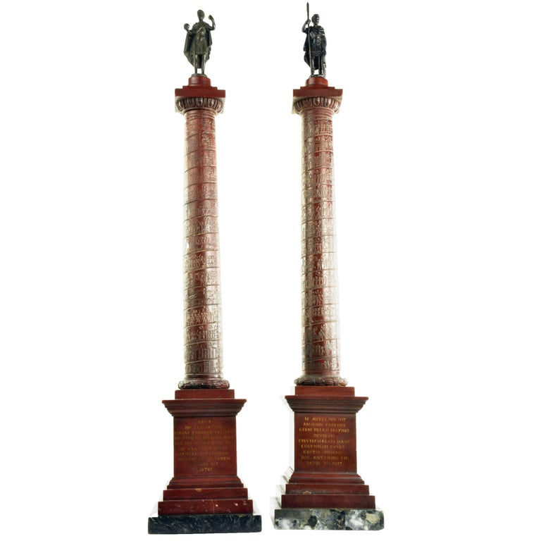 Pair of Early 19th Century Grand Tour Marble Models of Roman Columns