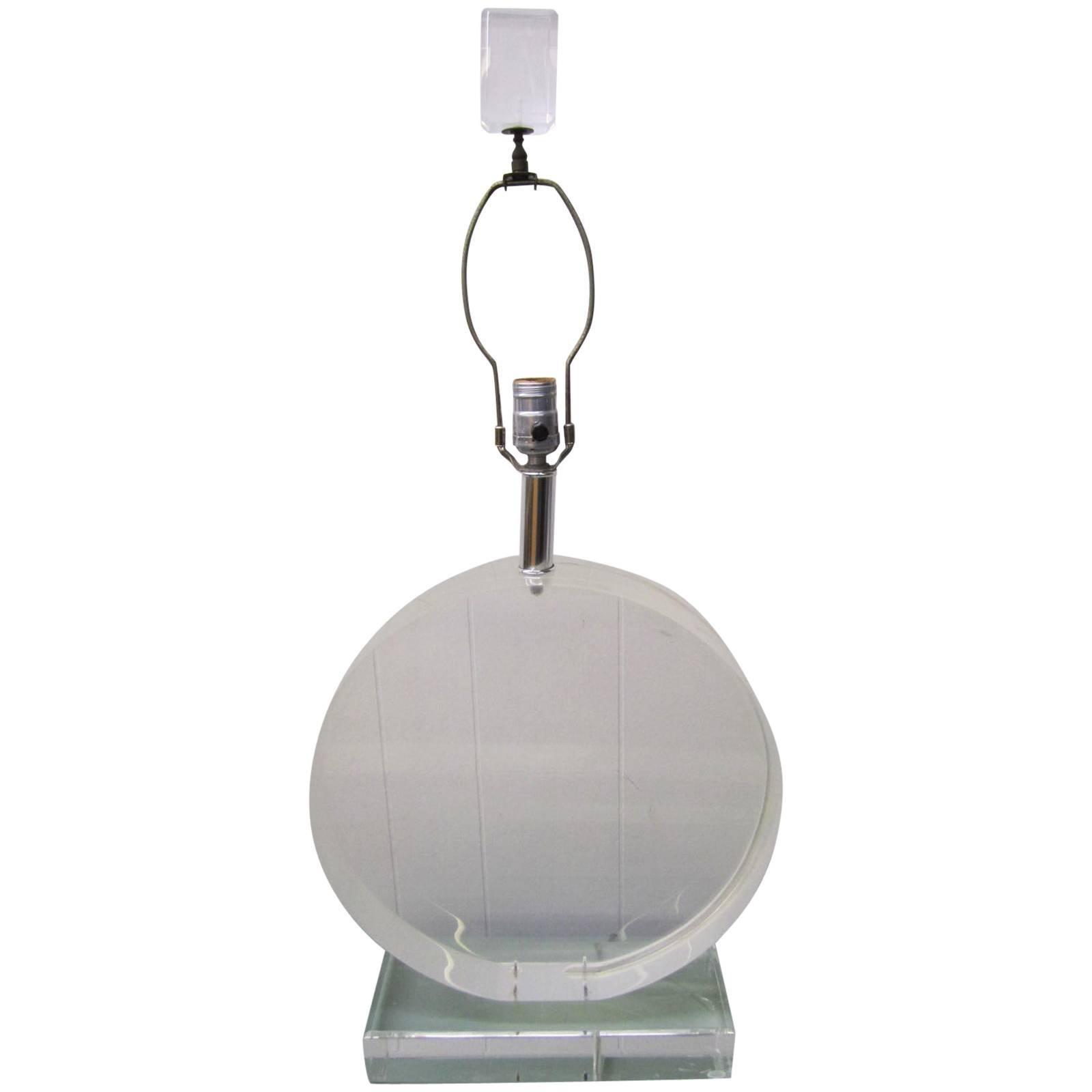 Large-Scale Karl Springer Style Circular Lucite Lamp Hollywood Regency Modern