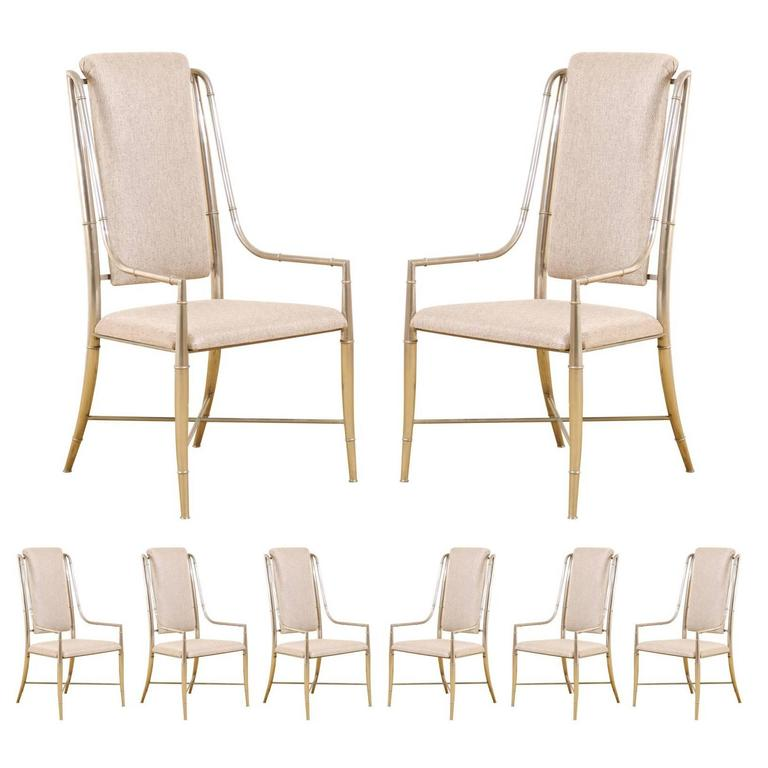 Unique set of eight pewter dining chairs by mastercraft at for Unique dining set furniture