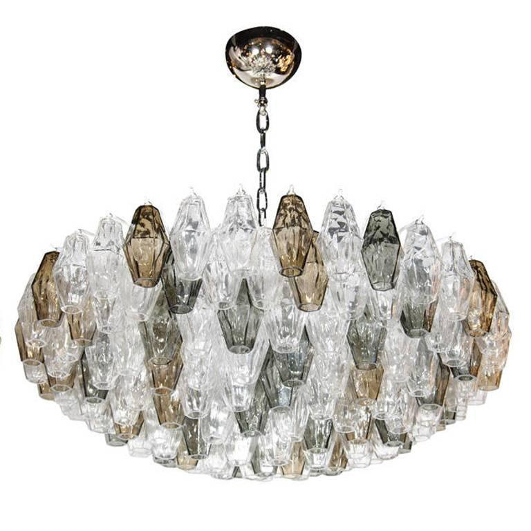 Ultra Chic Handblown Murano Glass Polyhedral Chandelier in the Manner of Venini