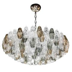Modernist Handblown Murano Glass Polyhedral Chandelier in the Manner of Venini