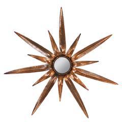 Whimsical Spanish Mid-Century Copper Starburst Mirror