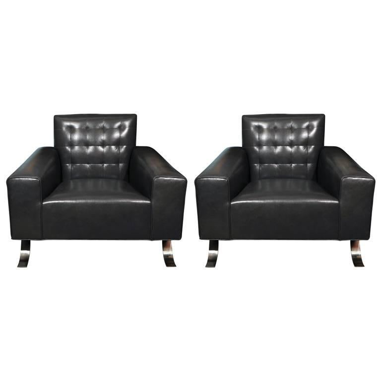 Joseph-Andre Motte Grey Leather Club Chairs