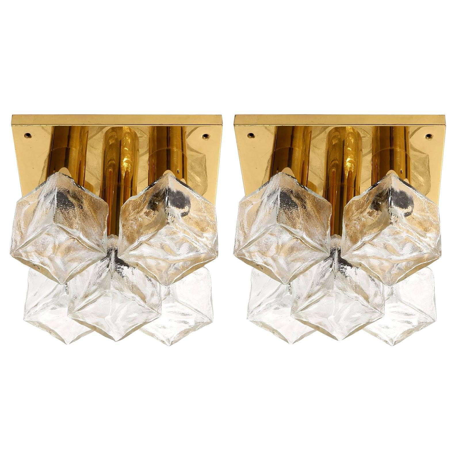 Two Modulare Kalmar Flush Mount Lights or Sconces, Brass and Ice Glass, 1960s