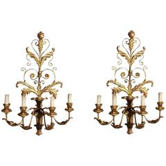 Pair of Italian Gilt Carved Wood and Tin Floral Sconces, Circa 1860