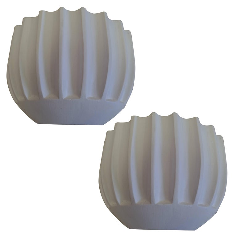 2 Pairs of French Mid-Century Modern / Art Deco Style Plaster Wall Sconces For Sale