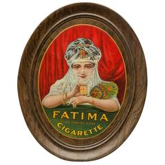 Self-Framed Tin Advertising Sign, Beautiful Girl, Fatima Cigarettes