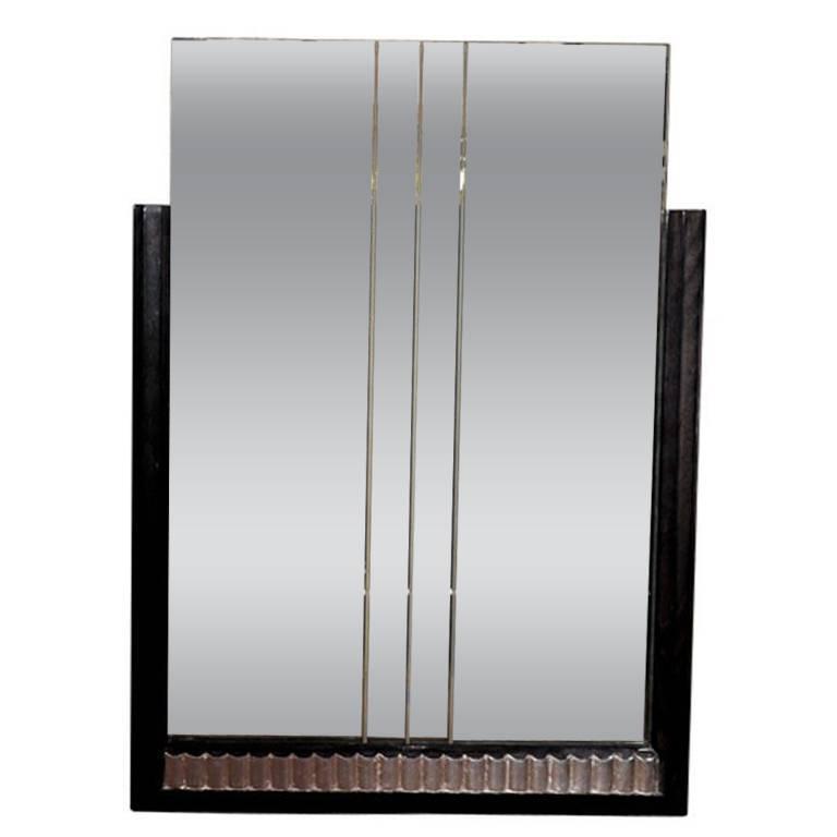 Machine Age Art Deco Mirror with Skyscraper Design & Silver Leaf Fluting