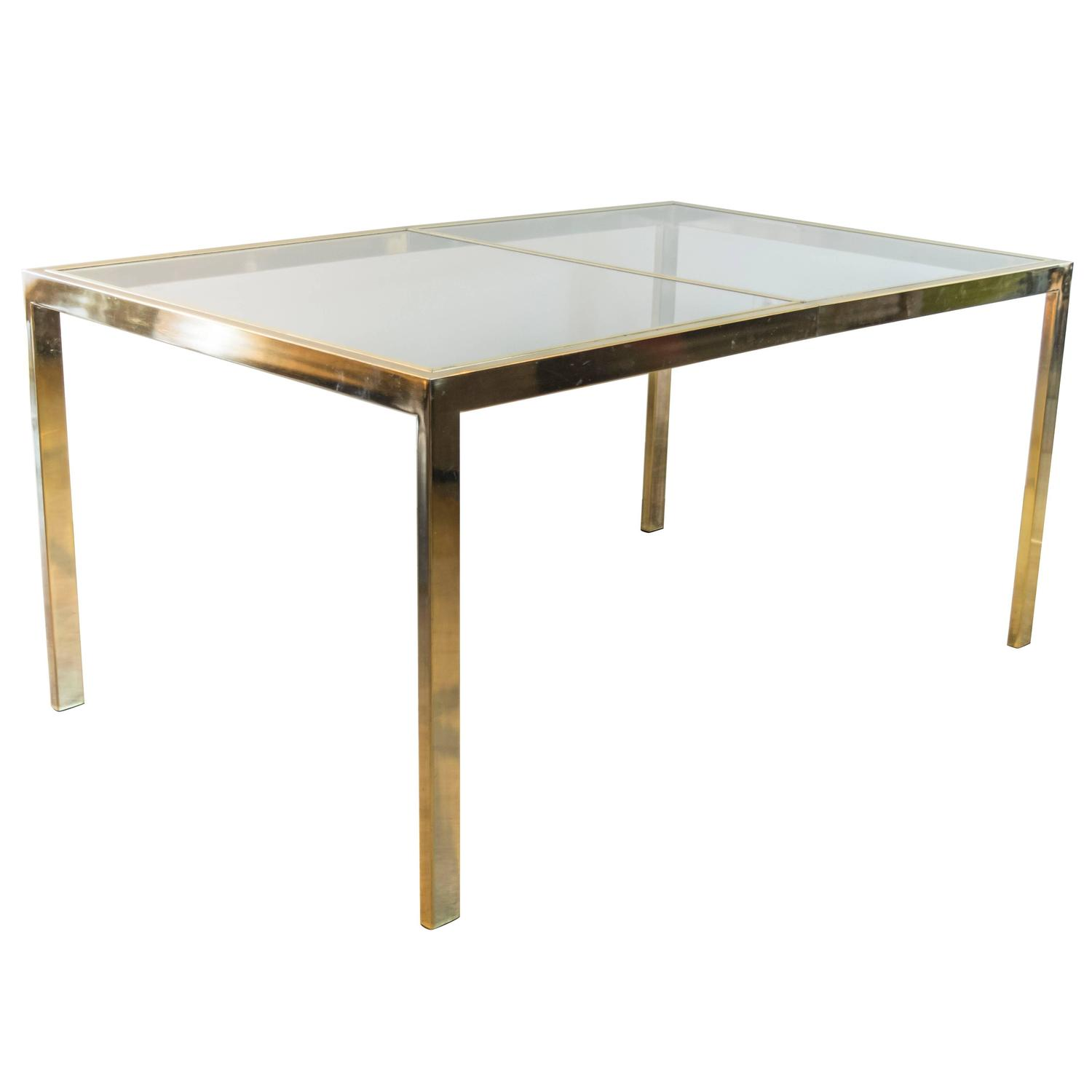 Milo Baughman For Thayer Coggin Brass Extendable Dining Table At