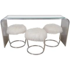 Gary Gutterman Olympic Console Table and Ough Stools, circa 1970s