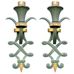 Pair of Patinated Bronze Sconces by Maison Leleu